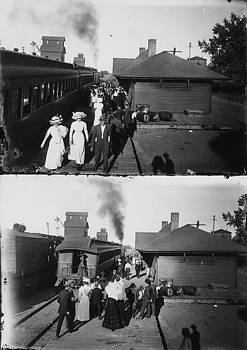 Chicago and North Western Historical Society - Passengers at Train Depot - 1900s