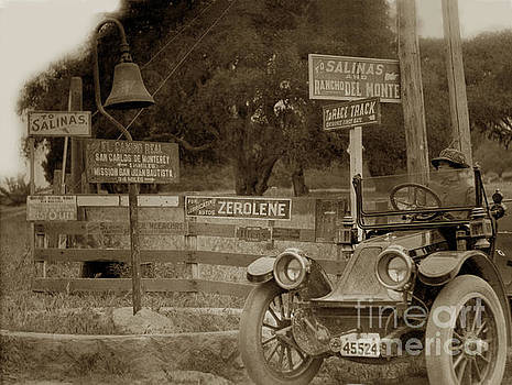 California Views Archives Mr Pat Hathaway Archives - 1911 Franklin Model G auto El Camino Real  Mission Bell near the Hotel Del Monte