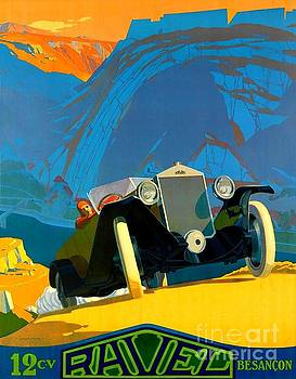 Peter Gumaer Ogden - 1925 Art Deco Ravel Motorcar Advertising Poster II Lucien Pillot