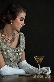 1930s Woman With A Cocktail Glass by Lee Avison