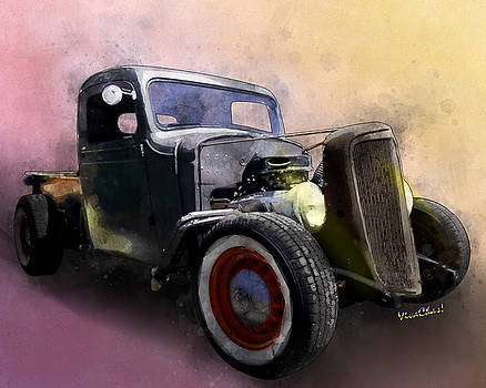 1936 Chevy Rat Rod Pickup Watercolour by Chas Sinklier