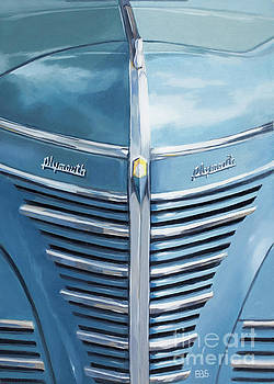 1939 Blue Plymouth Grill by Elaine Brady Smith
