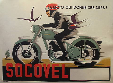 1940s Original Belgian Art Deco Motorcycle Poster, Socovel by Unknown