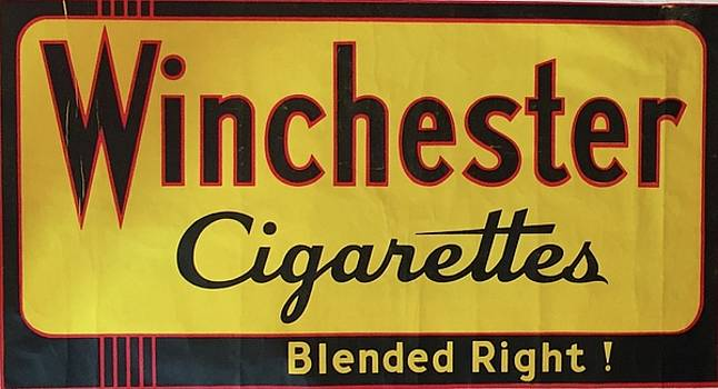 1940s Original Vintage Art Deco Winchester Cigarettes Horizontal Poster, Blended Right by Unknown