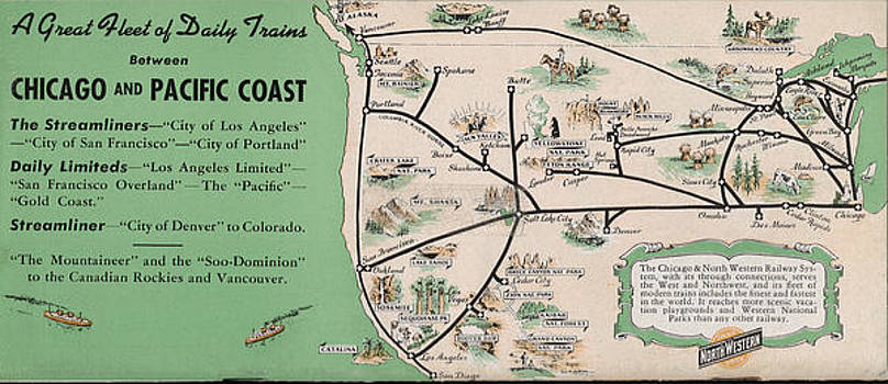 Chicago and North Western Historical Society - 1949 Midwest and Pacific Coast Train Map
