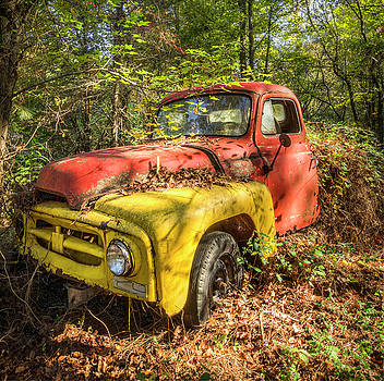 1950s International Pickup Truck Square by Debra and Dave Vanderlaan