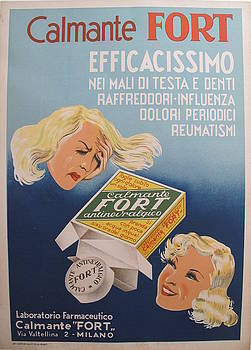 1950s Italian Medical Poster, Calmante Fort Painkiller Advertisement by Unknown