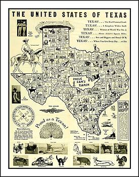 Peter Ogden - 1951 Humorous United States of Texas Map with Mythical Texas Animal Mutants