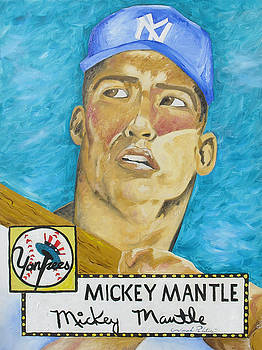 Joseph Palotas - 1952 Mickey Mantle Rookie Card Original Painting