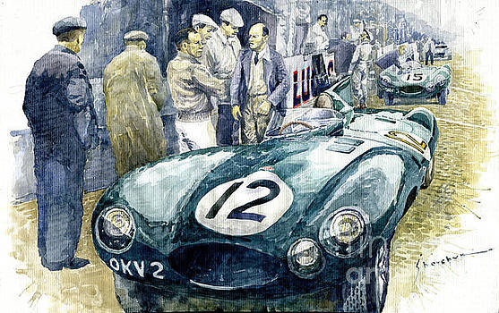 1954 Le Mans 24 Jaguar D type Short Nose Stirling Moss Peter Walker  by Yuriy Shevchuk