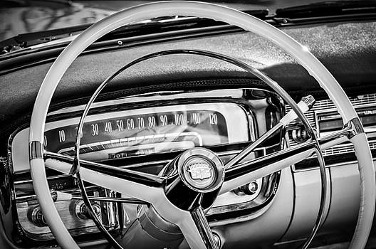 1956 Cadillac Steering Wheel -0480bw by Jill Reger