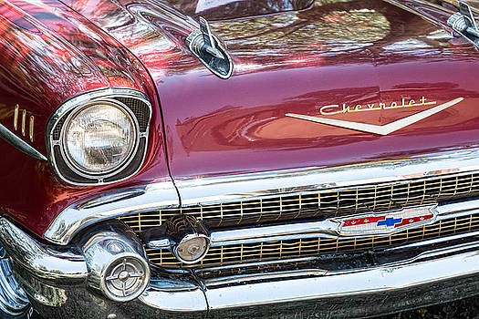 James BO  Insogna - 1957 Chevrolet Burgundy Bel Air Front Chrome