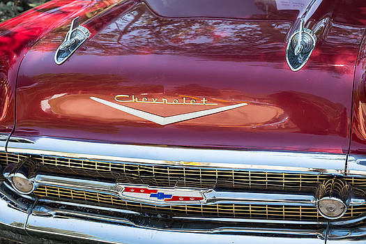 James BO  Insogna - 1957 Chevrolet Burgundy Bel Air Front Close-Up