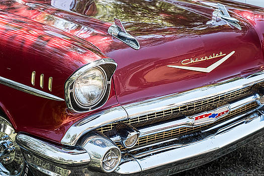 James BO  Insogna - 1957 Chevrolet Burgundy Bel Air Front View