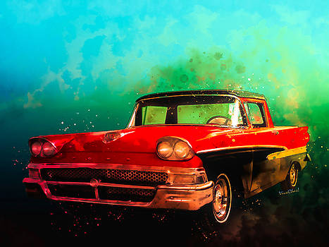 1958 Ford Ranchero Watercolour by Chas Sinklier
