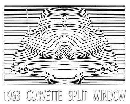 Wavy line 63 Corvette Split Window Abstract by Jack Pumphrey