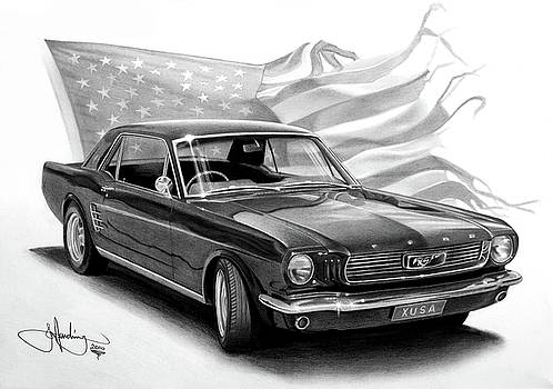 1966 Mustang drawing by John Harding