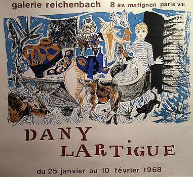 1968 French Exhibition Poster Galerie Reichenbach by Dany Lartigue