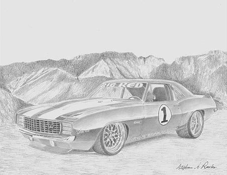 1969 Big Red Camaro CLASSIC CAR ART PRINT by Stephen Rooks