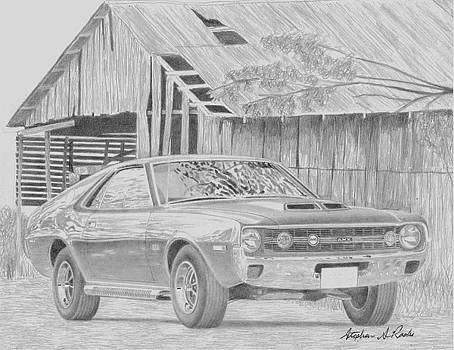 1970 AMX Javelin MUSCLE CAR ART PRINT by Stephen Rooks