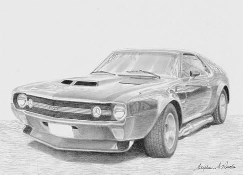 1970 AMX Street Machine MUSCLE CAR ART PRINT by Stephen Rooks