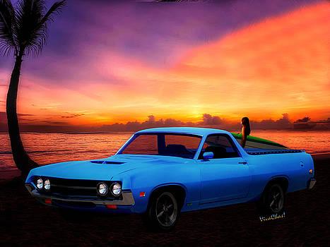 1970 Ranchero Dominican Beach Sunrise by Chas Sinklier