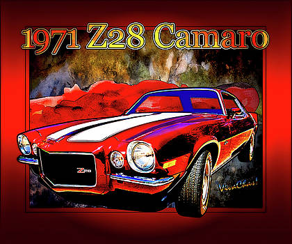1971 Z28 Camaro Poster 2nd Generation by Chas Sinklier
