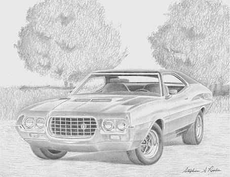 1972 Ford Gran Torino MUSCLE CAR ART PRINT by Stephen Rooks