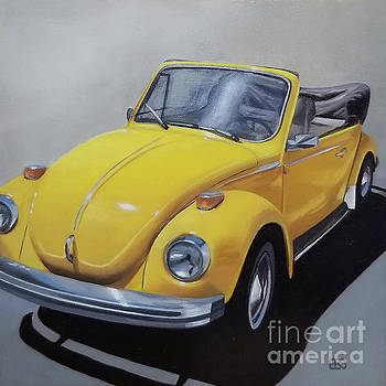1972 Yellow Volkswagen by Elaine Brady Smith