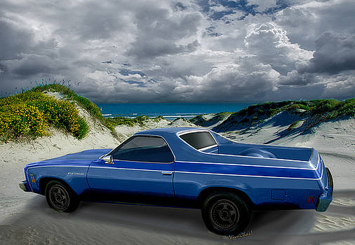 1973 El Camino in the Dunes by Chas Sinklier