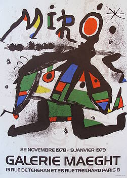 1978 Surrealist Abstract Poster, Joan Miro at Galerie Maeght by Joan Miro