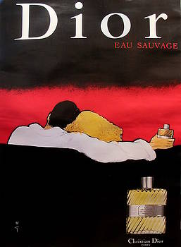 1979 French Vintage Dior Perfume Advertisement, Eau Sauvage - Rene Gruau by Rene Gruau