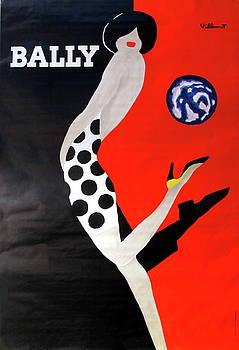 1980s Vintage French Poster, Bally Kick Shoe Advertising by Bernard Villemot