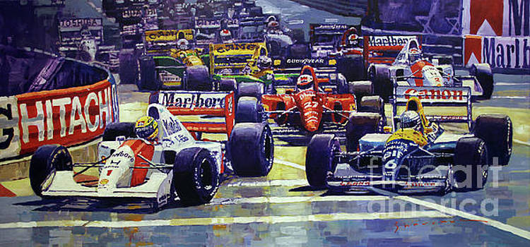 1992 Monaco GP Start  by Yuriy Shevchuk