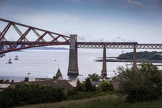 A steam train on the Forth Bridge by Michael Schofield