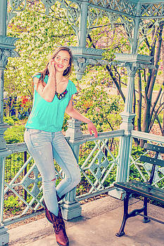 Alexander Image - American Teenage Girl Talking on Cell Phone at Central Park, New