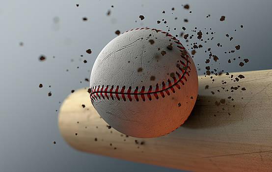 Baseball Striking Bat In Slow Motion by Allan Swart