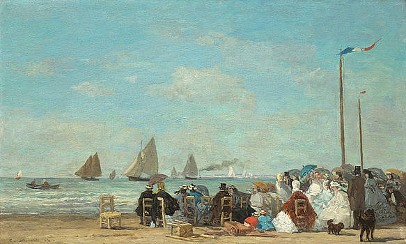 Beach Scene At Trouville by Eugene Boudin