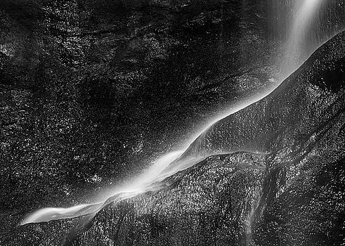 Beautiful peaceful black and white long exposure waterfall detai by Matthew Gibson