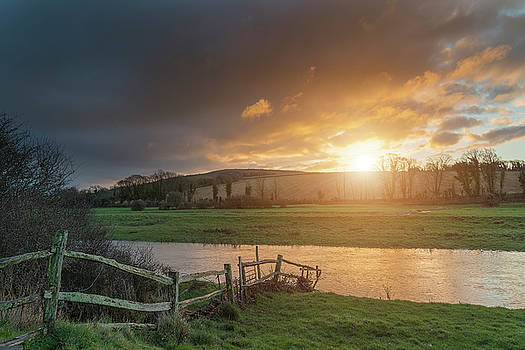 Beautiful Winter sunrise landscape of Cuckmere River winding thr by Matthew Gibson