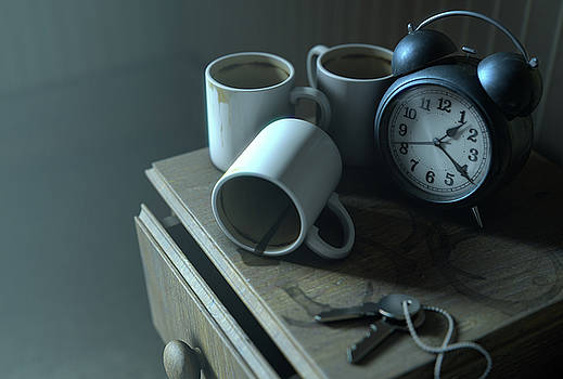 Bedside Table Insomnia Scene by Allan Swart