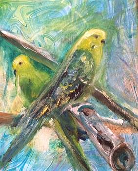 2 Birds on Marbled Paper by Denice Palanuk Wilson