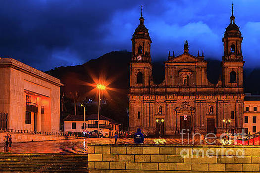 Bogota, Colombia - Plaza Bolivar on a Rainy Evening, After Sunset by Devasahayam Chandra Dhas