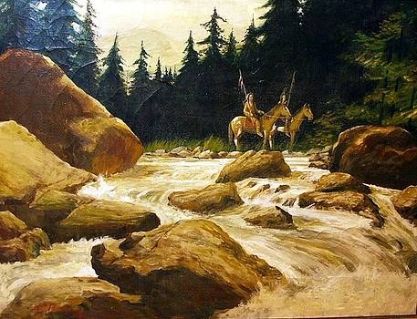 2 Braves By A River by Perrys Fine Art