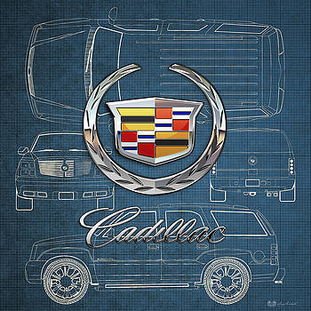 Serge Averbukh - Cadillac 3 D Badge over Cadillac Escalade Blueprint