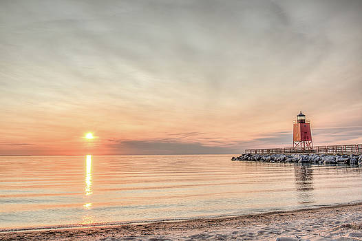 Charelvoix Lighthouse in Charlevoix, Michigan by Peter Ciro
