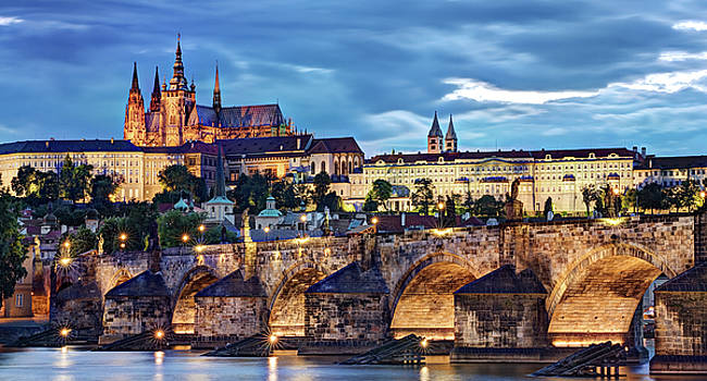 Charles Bridge and Prague Castle / Prague by Barry O Carroll