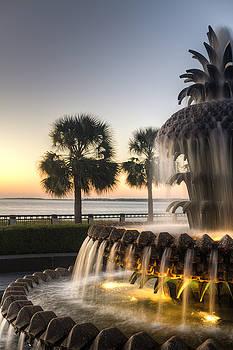 Charleston Pineapple Fountain Sunrise by Dustin K Ryan