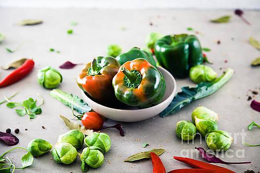 Fresh vegetables flatlay by Mythja Photography