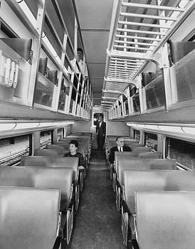Chicago and North Western Historical Society - Inside Bilevel Passenger Car- 1959